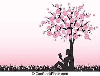 lecture, femme, arbre, livre, sous