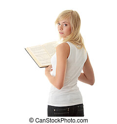 lecture, femme, livre, adolescent