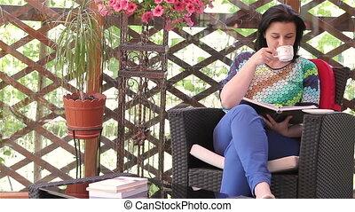 lecture, femme, livre, jeune