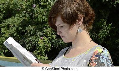 lecture, femme, pregnant, magazine