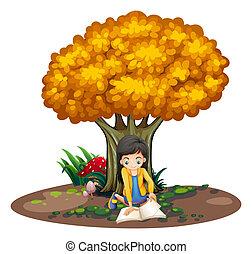 lecture fille, arbre, sous