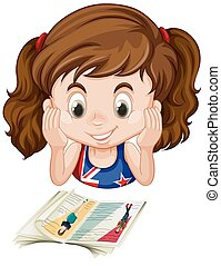 lecture fille, livre, britannique