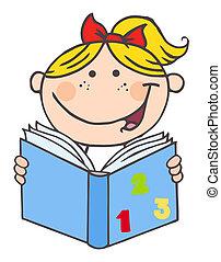 lecture fille, livre, gosse