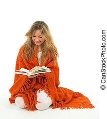 lecture fille, livre, sourire