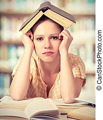 lecture fille, livres, étudiant, fatigué
