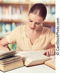 lecture fille, livres, étudiant, heureux