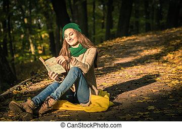 lecture fille, parc, livre