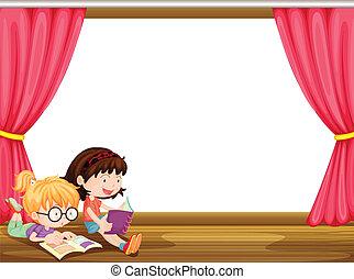 lecture, filles, livre