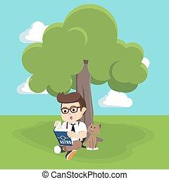 lecture garçon, arbre, livre, sous