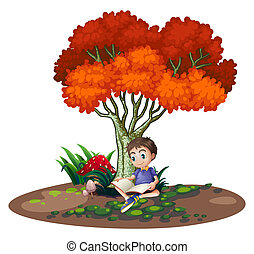 lecture garçon, arbre, sous