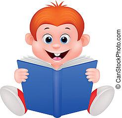lecture garçon, dessin animé, livre