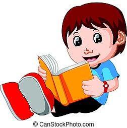 lecture garçon, jeune, livre, dessin animé