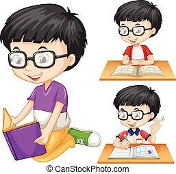 lecture garçon, livre, lunettes