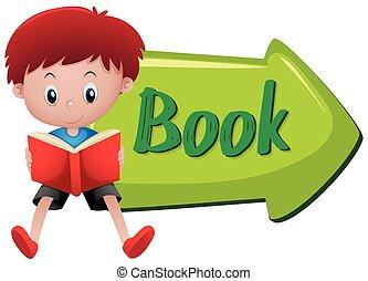 lecture garçon, livre, signe