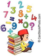 lecture, garçon, musulman, livre, nombres