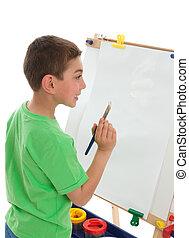 lecture garçon, peinture