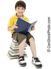 lecture garçon, séduisant, livre, enfant