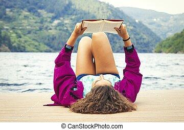 lecture, girl, extérieur, livre, crépuscule