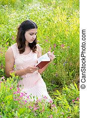 lecture, girl, livre, foncé-d'une chevelure, nature