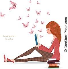 lecture, girl, livre, mignon