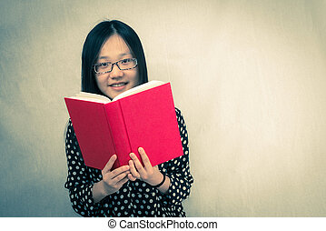 lecture, girl, livre, rouges