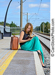 lecture, girl, station, jeune, séance