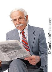lecture, grand-père, journal.