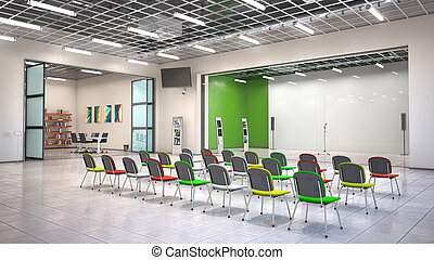 Lecture hall interior. 3d illustration