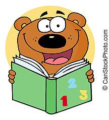 lecture, heureux, livre, ours