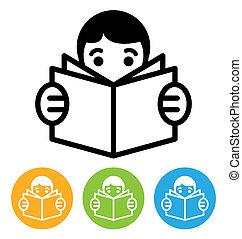 lecture, icône