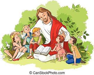 lecture, jésus, bible, enfants