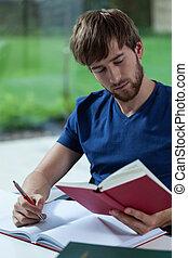 lecture, jeune, étudiant