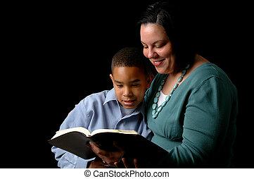 lecture, mère, fils