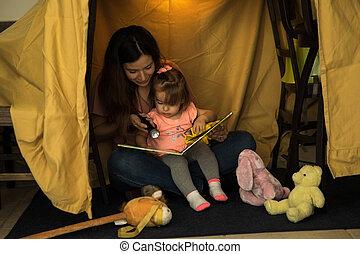lecture, maman, ensemble, enfant