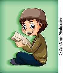 lecture, musulman, gosse, livres