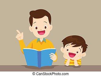 lecture, père, livre, fils