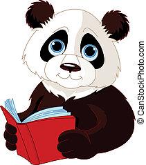 lecture, panda, livre