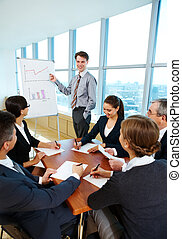 Lecture - Photo of successful businessman reading lecture to...