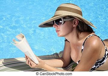 lecture, piscine