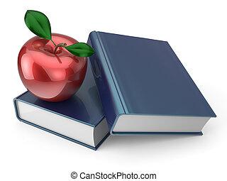 lecture, pomme, manuel, livres, santé, education, rouges