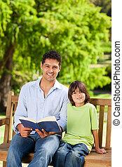 lecture, sien, père, livre, fils