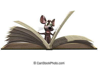 lecture, souris, livre