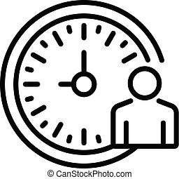 Lecture time clock icon, outline style