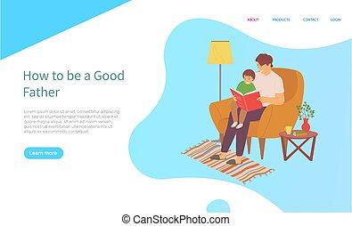 lecture, vecteur, famille, loisir, fils, papa, livre