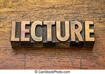 lecture word in wood type