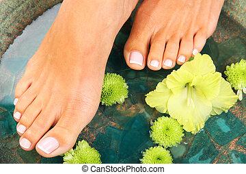 leczenie piękna, fotografia, od, ładny, pedicured, feet