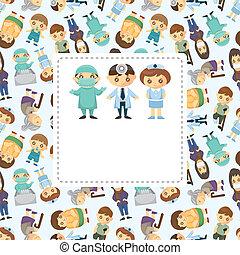 leczy, pacjent, karta, ludzie