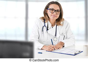 leczy, samica, biuro, doktor