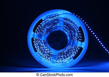 Led background - Glowing LED garland on black background