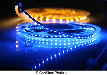 Led background - LED lights are glowing on black background